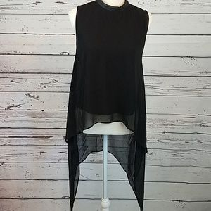 Divided, black layered waterfall style tank top.